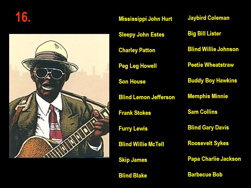 16. Jaybird Coleman Big Bill Lister Blind Willie Johnson Peetie Wheatstraw Buddy Boy Hawkins Memphis Minnie Sam Collins Blind Gary Davis Roosevelt Syk