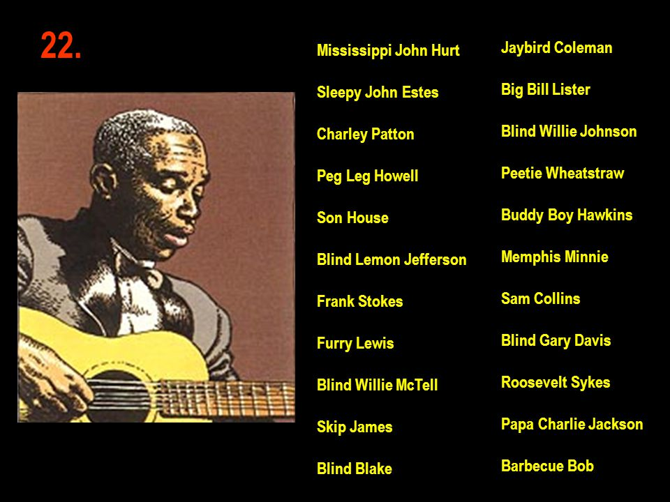 22. Jaybird Coleman Big Bill Lister Blind Willie Johnson Peetie Wheatstraw Buddy Boy Hawkins Memphis Minnie Sam Collins Blind Gary Davis Roosevelt Syk
