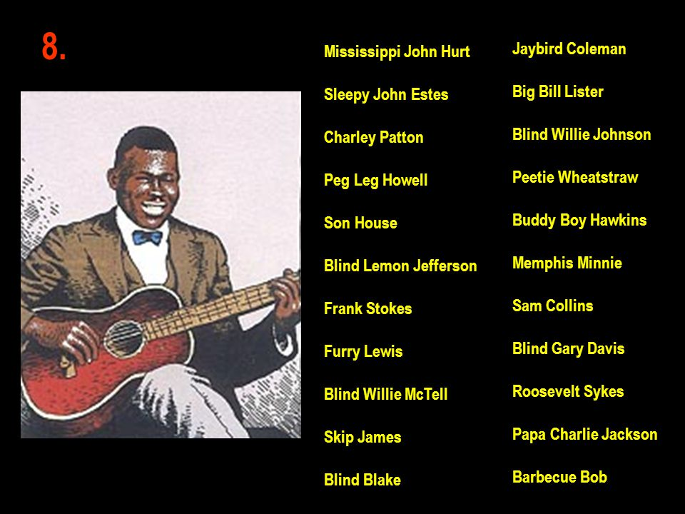8. Jaybird Coleman Big Bill Lister Blind Willie Johnson Peetie Wheatstraw Buddy Boy Hawkins Memphis Minnie Sam Collins Blind Gary Davis Roosevelt Syke