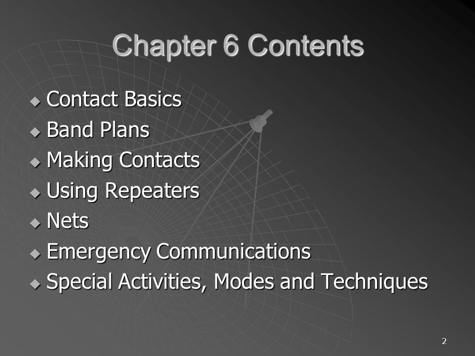 2 Chapter 6 Contents Contact Basics Contact Basics Band Plans Band Plans Making Contacts Making Contacts Using Repeaters Using Repeaters Nets Nets Emergency Communications Emergency Communications Special Activities, Modes and Techniques Special Activities, Modes and Techniques