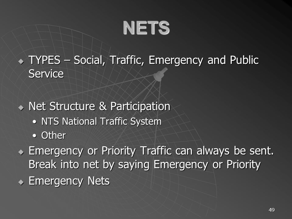 49 NETS TYPES – Social, Traffic, Emergency and Public Service TYPES – Social, Traffic, Emergency and Public Service Net Structure & Participation Net Structure & Participation NTS National Traffic SystemNTS National Traffic System OtherOther Emergency or Priority Traffic can always be sent.