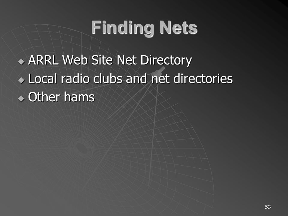 53 Finding Nets ARRL Web Site Net Directory ARRL Web Site Net Directory Local radio clubs and net directories Local radio clubs and net directories Other hams Other hams