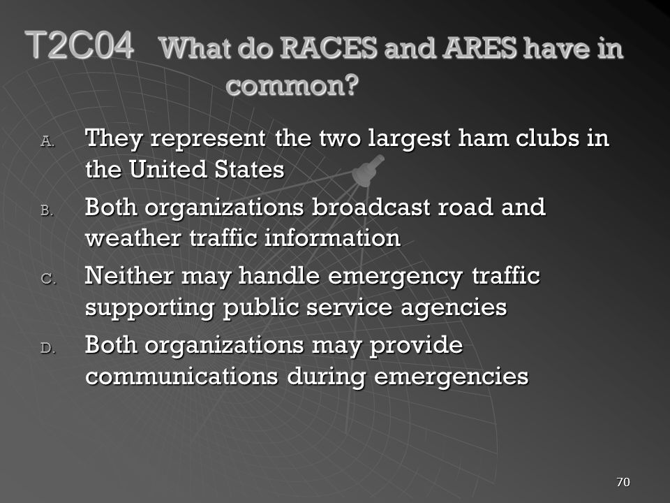 70 T2C04 What do RACES and ARES have in common. A.