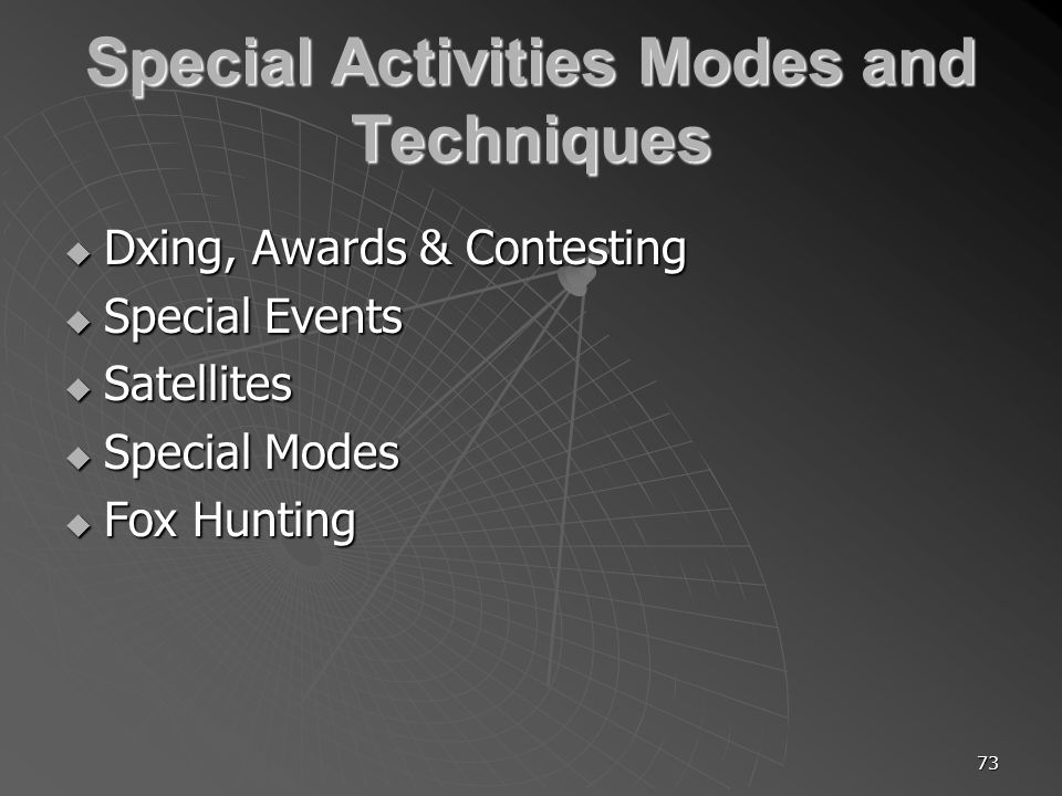 73 Special Activities Modes and Techniques Dxing, Awards & Contesting Dxing, Awards & Contesting Special Events Special Events Satellites Satellites Special Modes Special Modes Fox Hunting Fox Hunting