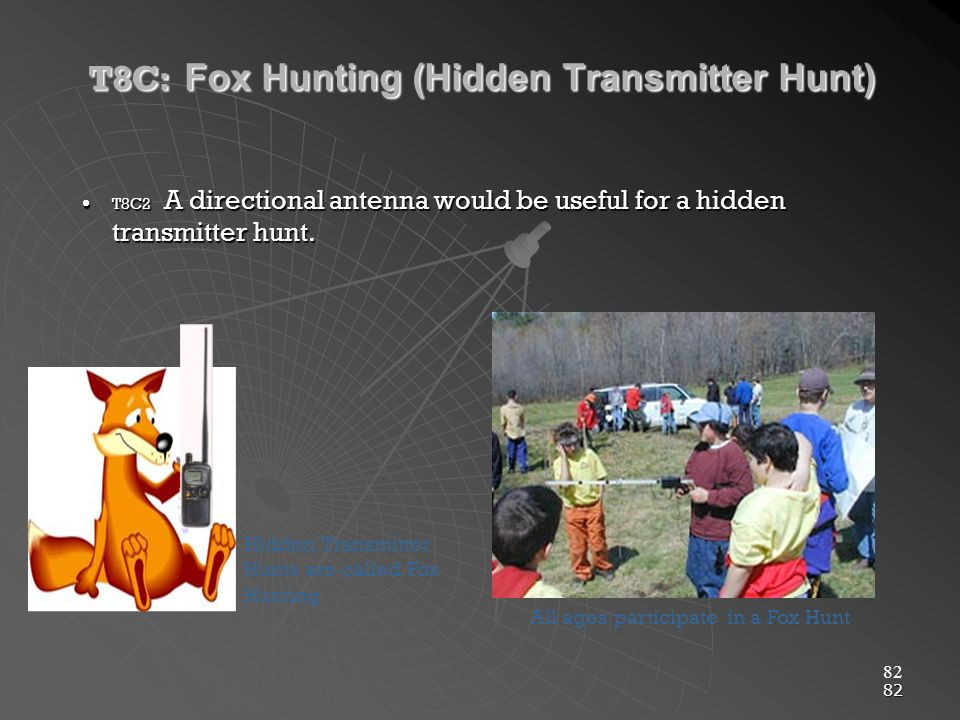 82 T8C: Fox Hunting (Hidden Transmitter Hunt) T8C2 A directional antenna would be useful for a hidden transmitter hunt.