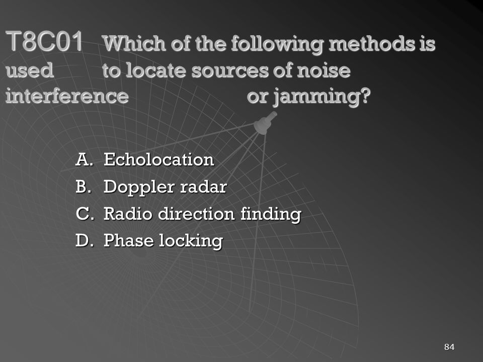 84 T8C01 Which of the following methods is used to locate sources of noise interference or jamming.