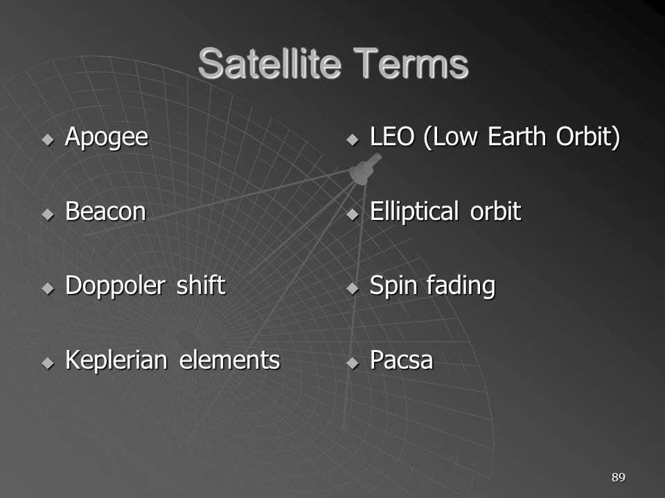 89 Satellite Terms Apogee Apogee Beacon Beacon Doppoler shift Doppoler shift Keplerian elements Keplerian elements LEO (Low Earth Orbit) LEO (Low Earth Orbit) Elliptical orbit Elliptical orbit Spin fading Spin fading Pacsa Pacsa