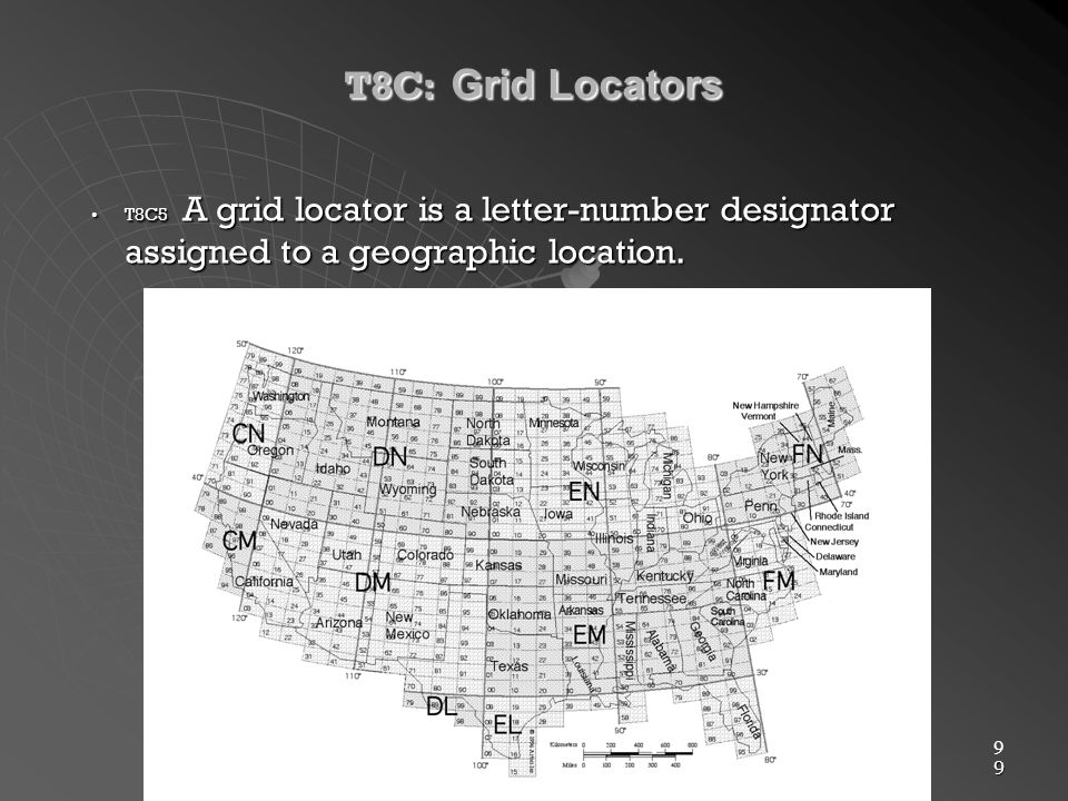9 9 T8C: Grid Locators T8C5 A grid locator is a letter-number designator assigned to a geographic location.T8C5 A grid locator is a letter-number designator assigned to a geographic location.