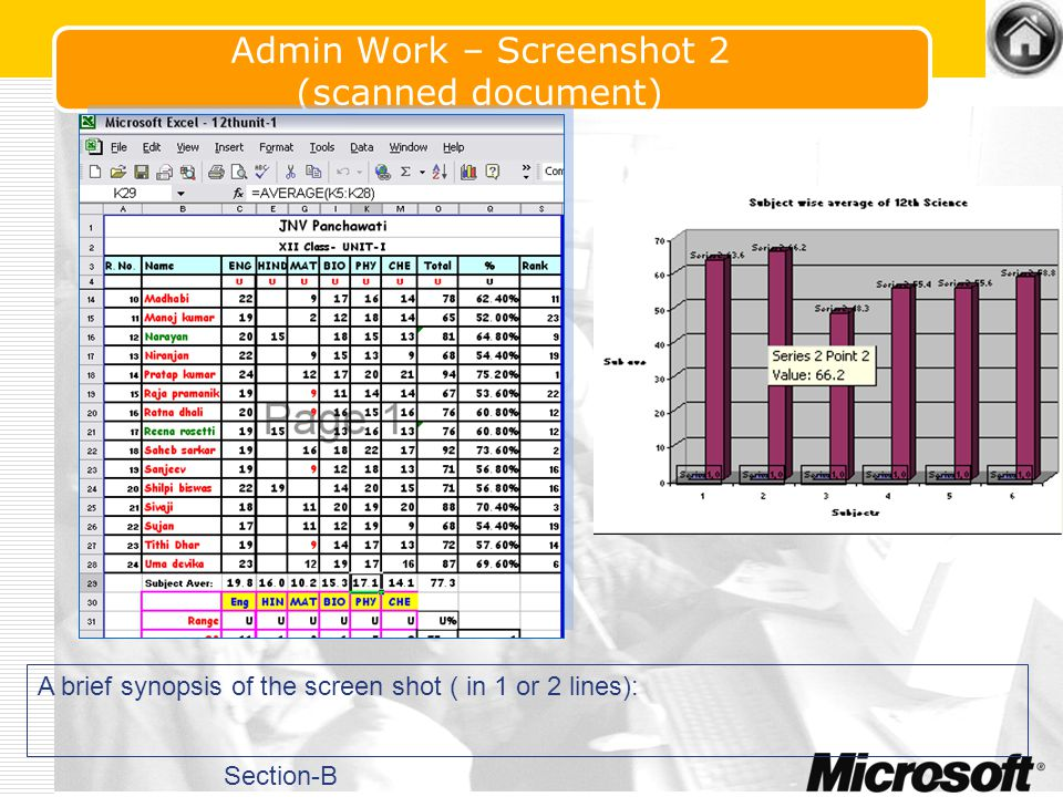 Admin Work – Screenshot 1 (scanned document) Result analysis Software Developed by using Ms Acess and VB Section-B