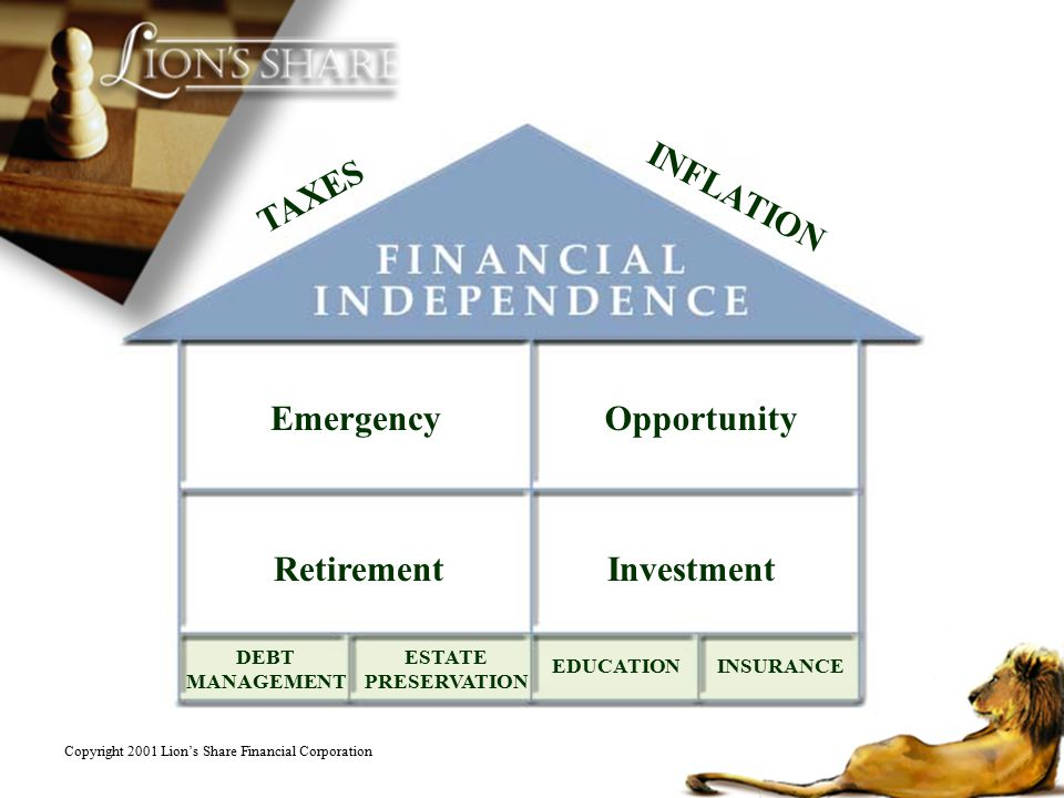 EmergencyOpportunity RetirementInvestment ESTATE PRESERVATION DEBT MANAGEMENT EDUCATIONINSURANCE TAXES INFLATION Copyright 2001 Lions Share Financial