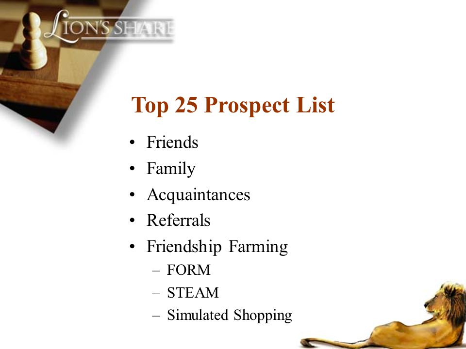 Top 25 Prospect List Friends Family Acquaintances Referrals Friendship Farming –FORM –STEAM –Simulated Shopping