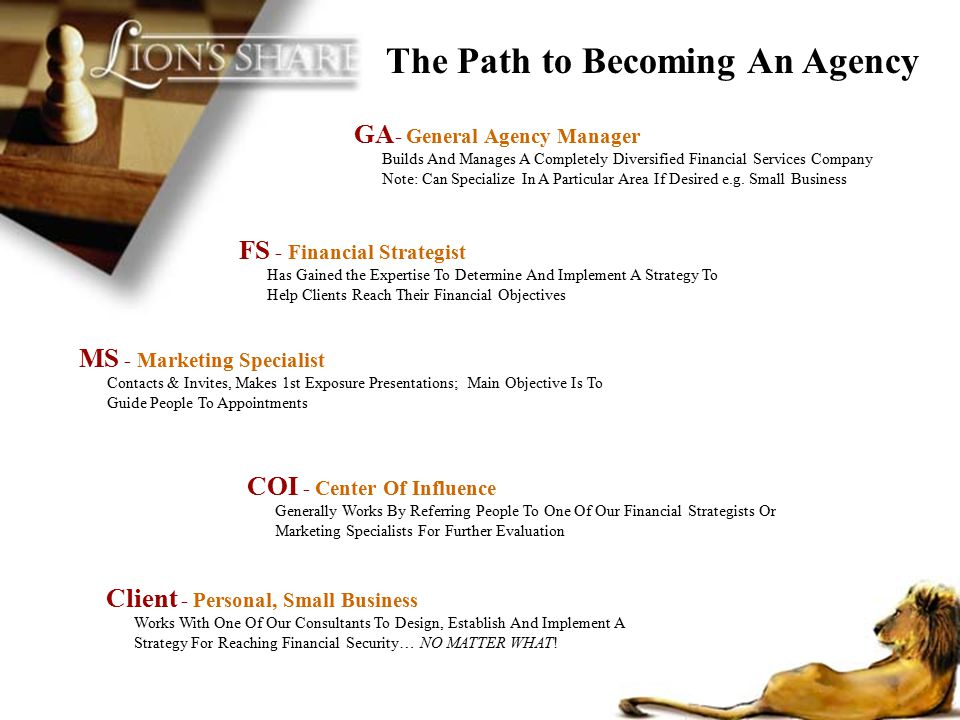 GA - General Agency Manager Builds And Manages A Completely Diversified Financial Services Company Note: Can Specialize In A Particular Area If Desire