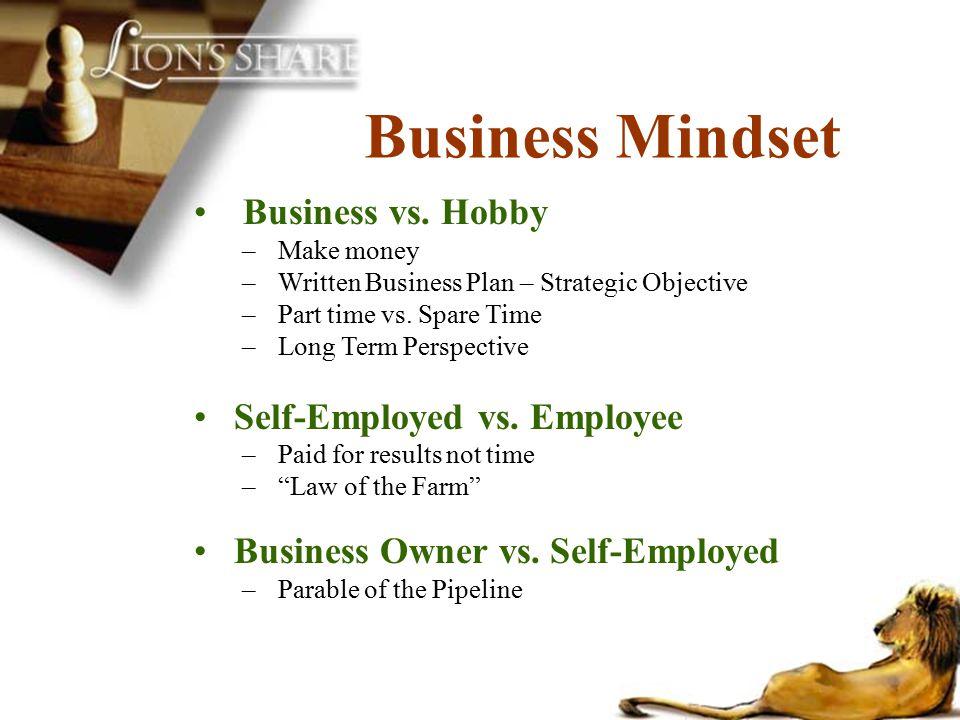 Business vs. Hobby –Make money –Written Business Plan – Strategic Objective –Part time vs. Spare Time –Long Term Perspective Self-Employed vs. Employe
