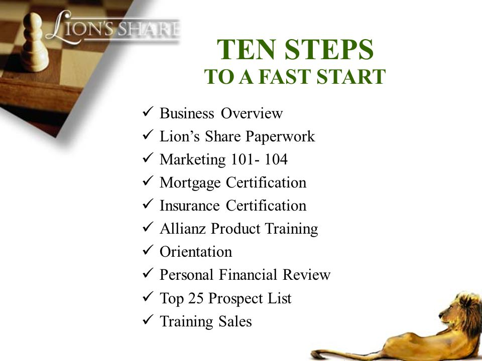 People dont plan to fail, they fail to plan Set Weekly Objectives Set Specific Goals Attend all Trainings Complete Fast Start Within 60 Days Set Up Accountability Systems Partner with the Masters Match Up to Move Up Review Progress Frequently Build Your Team During Training