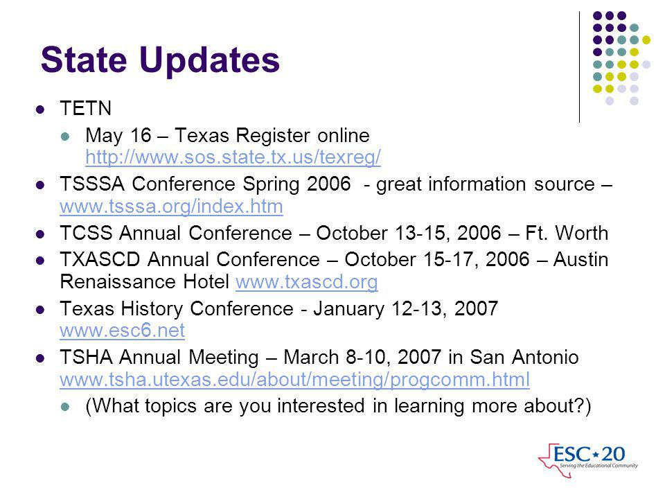State Updates TETN May 16 – Texas Register online http://www.sos.state.tx.us/texreg/ http://www.sos.state.tx.us/texreg/ TSSSA Conference Spring 2006 - great information source – www.tsssa.org/index.htm www.tsssa.org/index.htm TCSS Annual Conference – October 13-15, 2006 – Ft.
