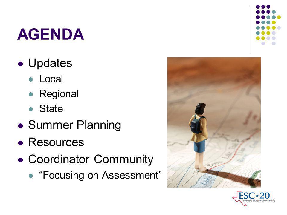 AGENDA Updates Local Regional State Summer Planning Resources Coordinator Community Focusing on Assessment