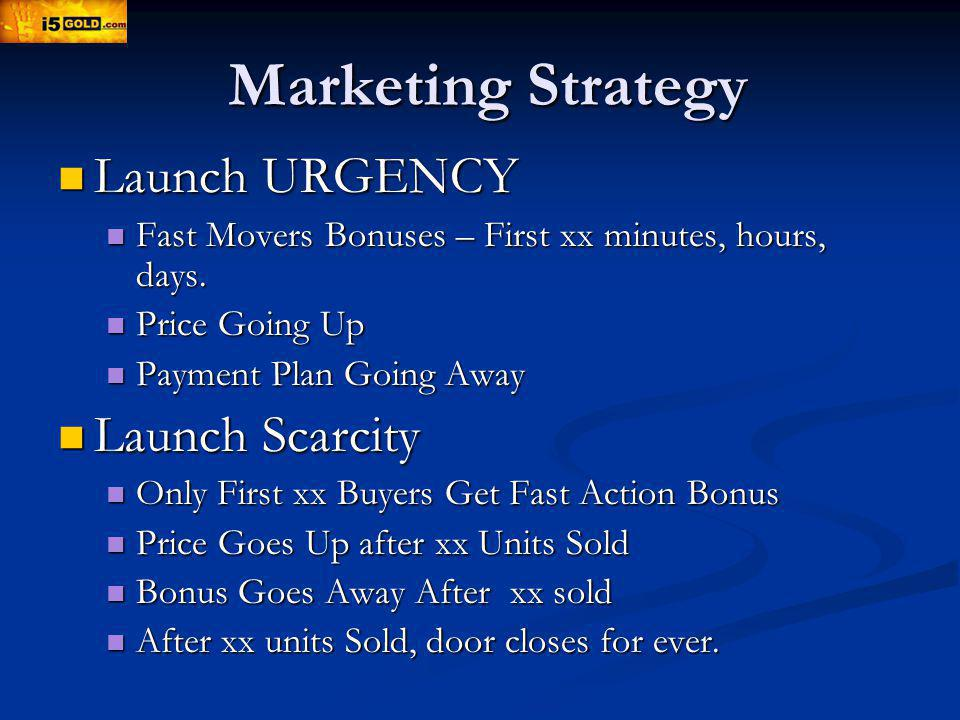 Marketing Strategy Launch URGENCY Launch URGENCY Fast Movers Bonuses – First xx minutes, hours, days.