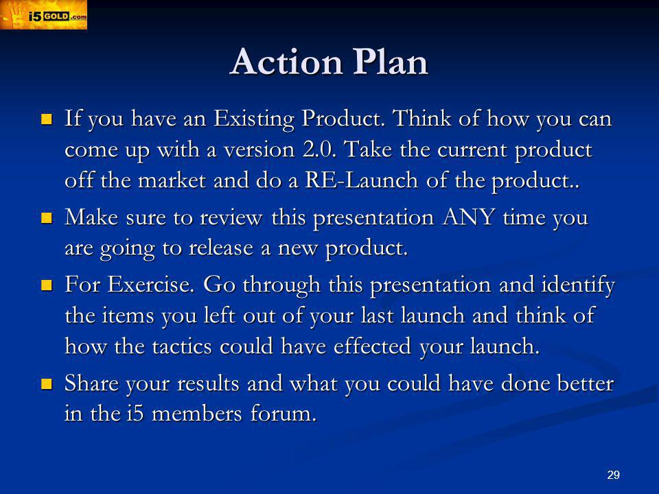 Action Plan If you have an Existing Product. Think of how you can come up with a version 2.0.
