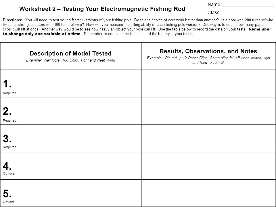 Name: ____________________ Class: ____________________ Worksheet 2 – Testing Your Electromagnetic Fishing Rod Directions: You will need to test your different versions of your fishing pole.
