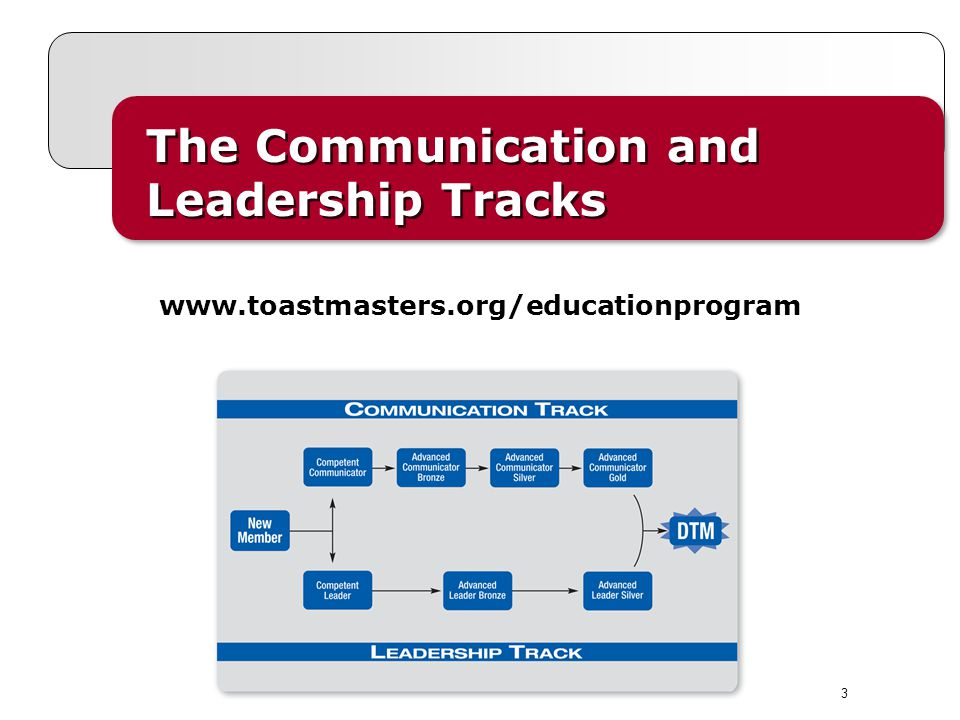 3 The Communication and Leadership Tracks The Communication and Leadership Tracks www.toastmasters.org/educationprogram