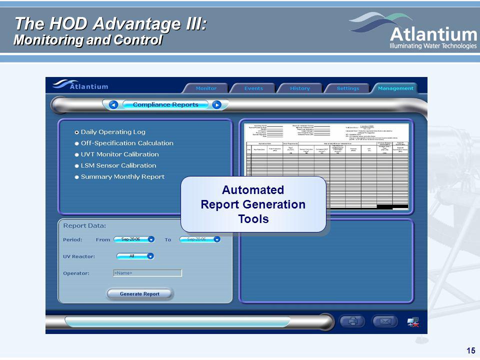 15 The HOD Advantage III: Monitoring and Control Automated Report Generation Tools Automated Report Generation Tools