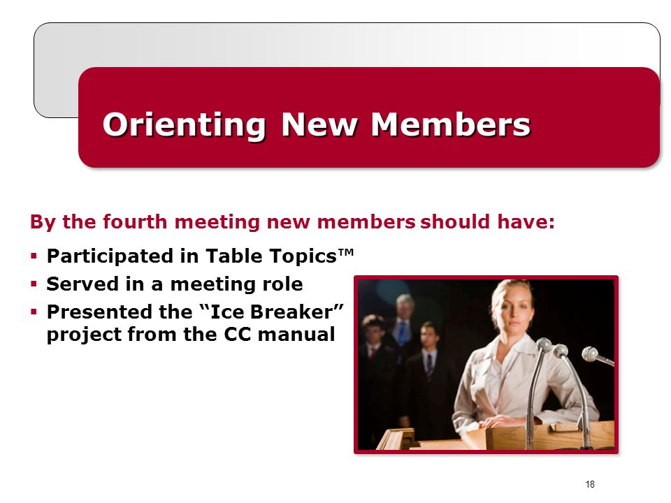 Orienting New Members By the fourth meeting new members should have: Participated in Table Topics Served in a meeting role Presented the Ice Breaker p