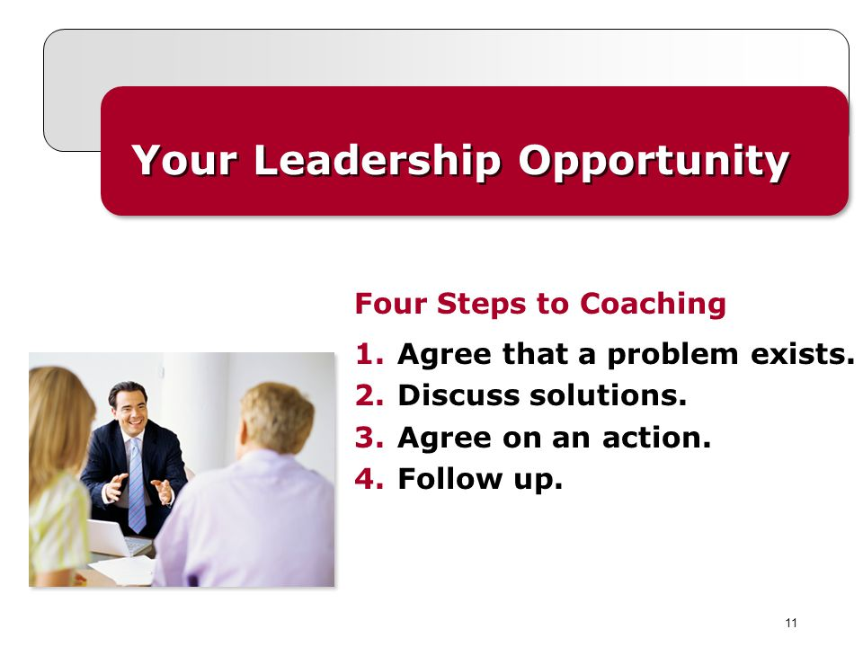 11 Your Leadership Opportunity 1.Agree that a problem exists. 2.Discuss solutions. 3.Agree on an action. 4.Follow up. Four Steps to Coaching