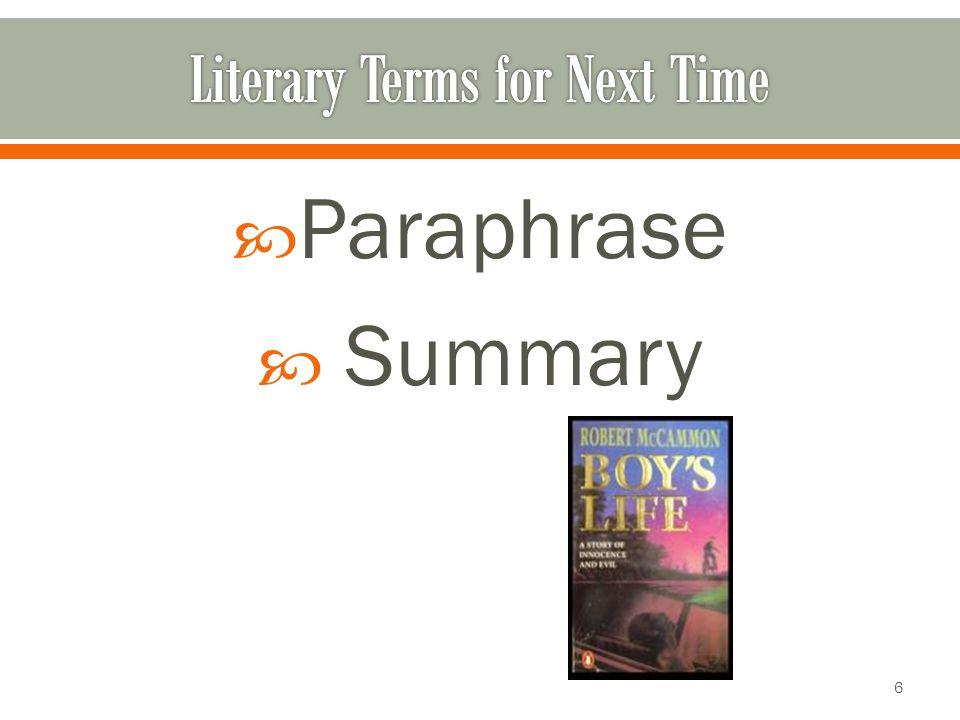 Paraphrase Summary 6