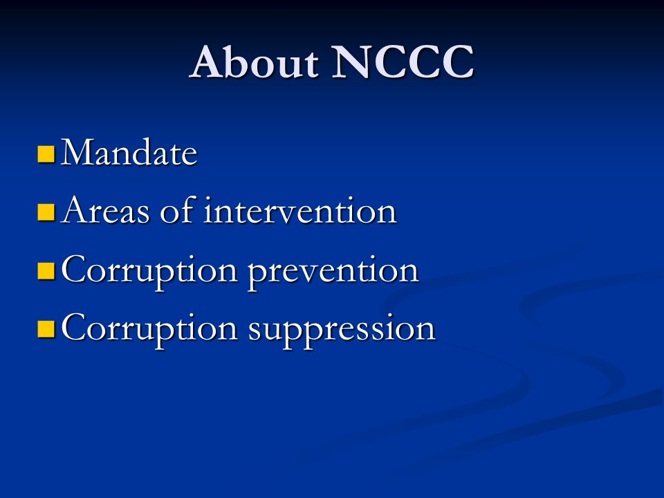 Anti-Corruption Efforts at the National Level: the Work of Thailands National Counter Corruption Commission (NCCC) Dr.