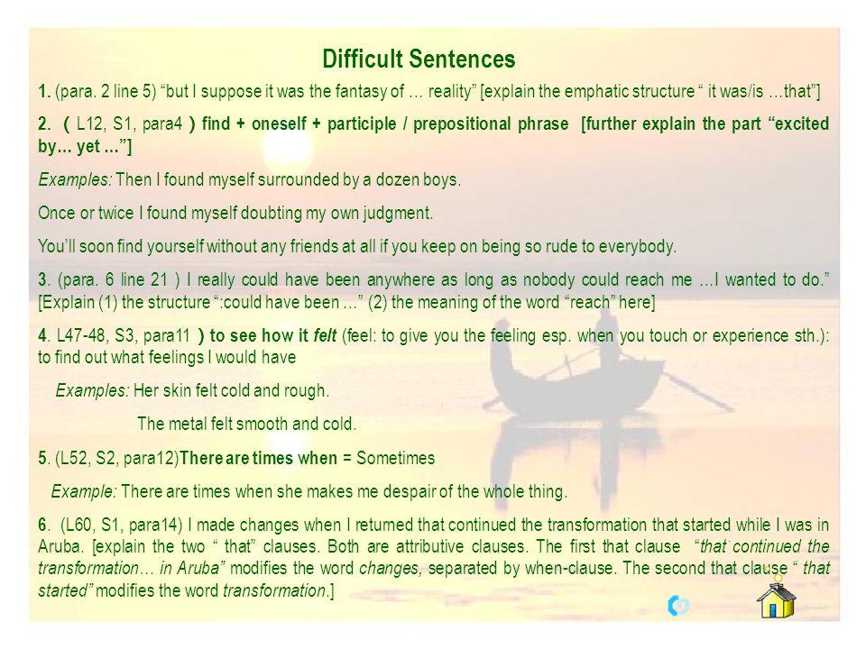 Difficult Sentences 1.(para.