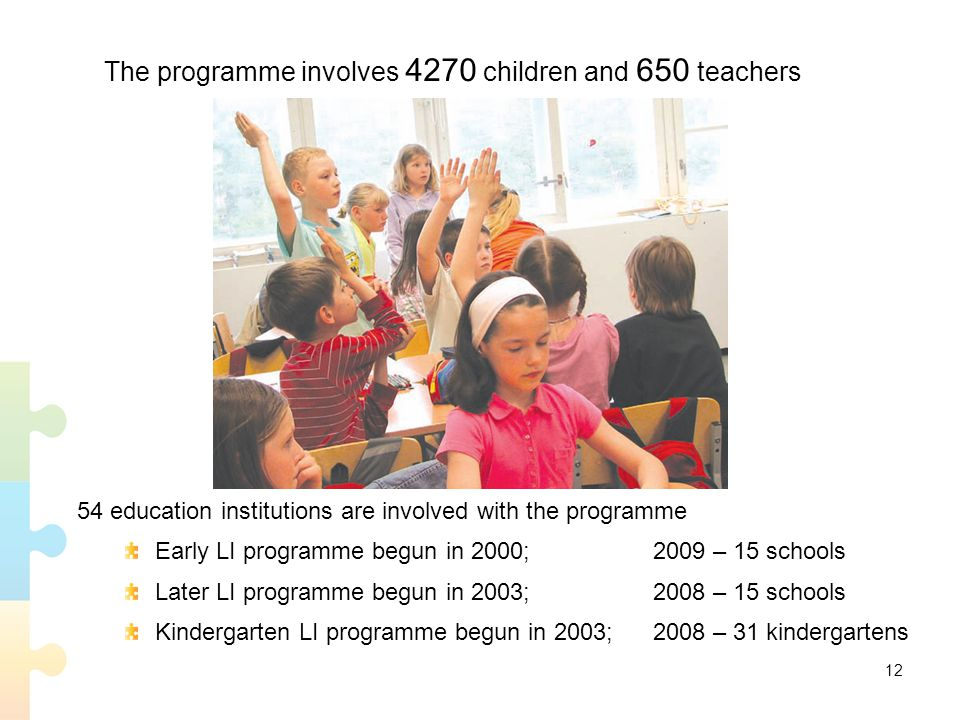The programme involves 4270 children and 650 teachers 54 education institutions are involved with the programme Early LI programme begun in 2000; 2009