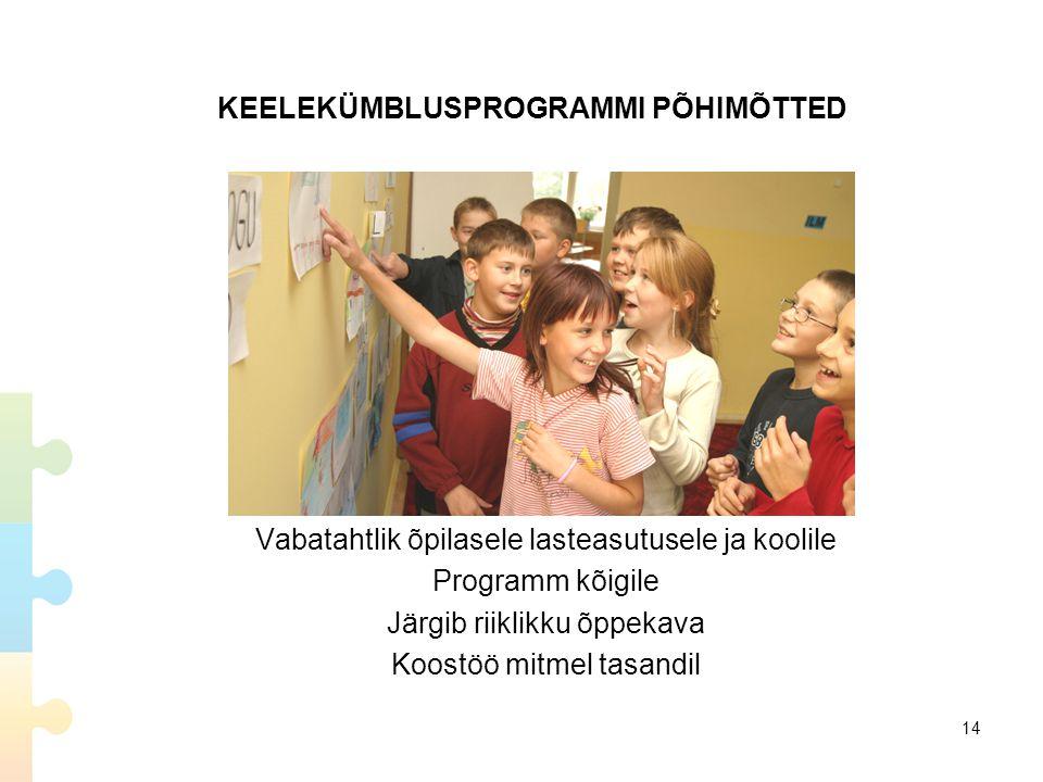 KEELEKÜMBLUSPROGRAMMI PÕHIMÕTTED Vabatahtlik õpilasele lasteasutusele ja koolile Programm kõigile Järgib riiklikku õppekava Koostöö mitmel tasandil 14