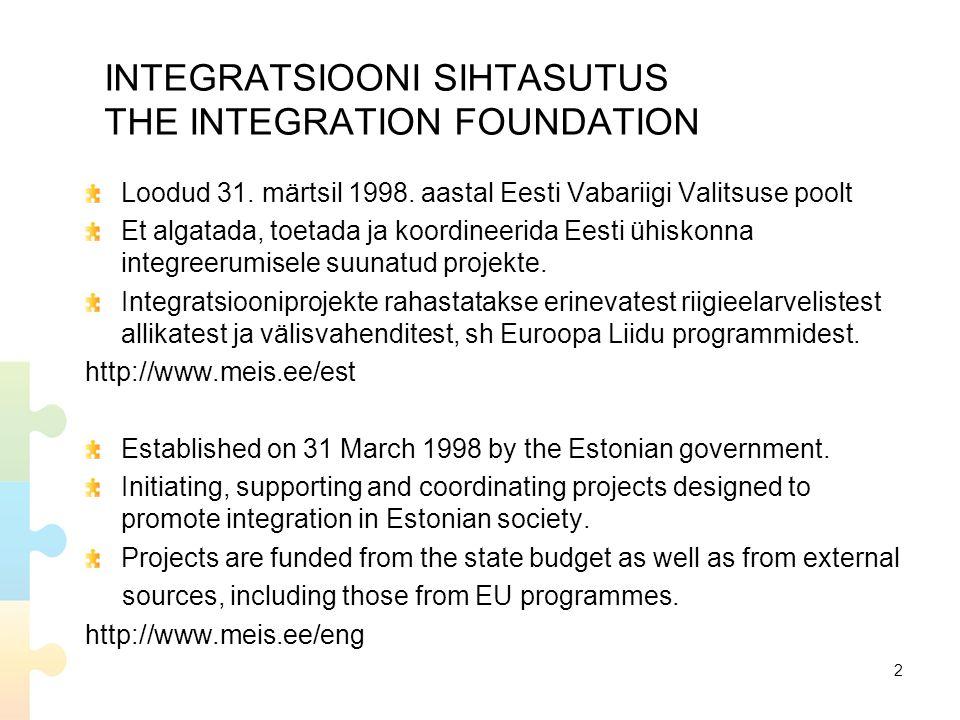 INTEGRATSIOONI SIHTASUTUS THE INTEGRATION FOUNDATION Loodud 31.