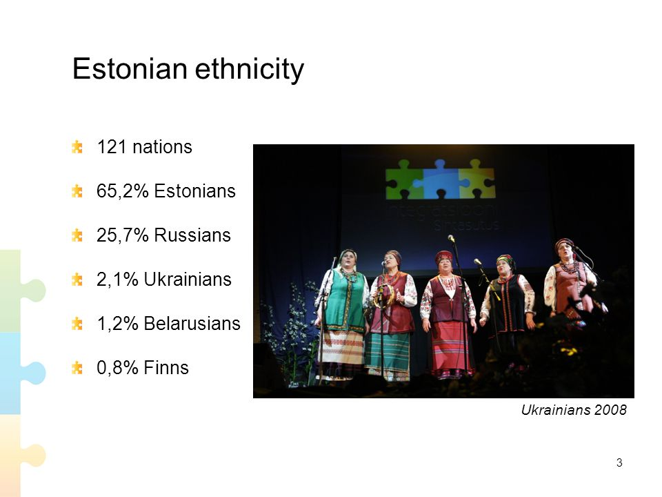 3 Estonian ethnicity 121 nations 65,2% Estonians 25,7% Russians 2,1% Ukrainians 1,2% Belarusians 0,8% Finns Ukrainians 2008