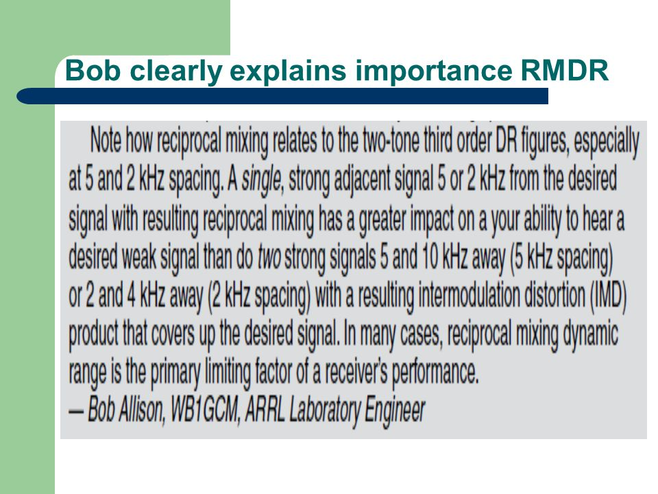 Bob clearly explains importance RMDR