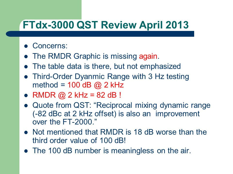 FTdx-3000 QST Review April 2013 Concerns: The RMDR Graphic is missing again. The table data is there, but not emphasized Third-Order Dyanmic Range wit