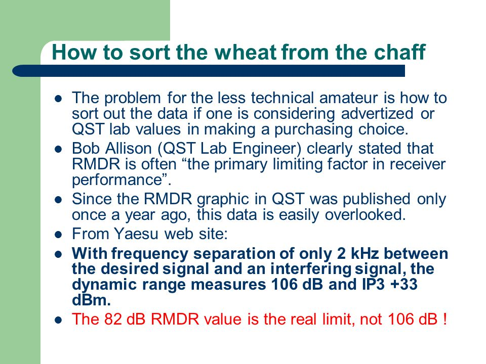 How to sort the wheat from the chaff The problem for the less technical amateur is how to sort out the data if one is considering advertized or QST la