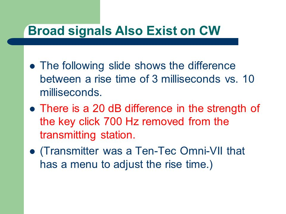 Broad signals Also Exist on CW The following slide shows the difference between a rise time of 3 milliseconds vs. 10 milliseconds. There is a 20 dB di