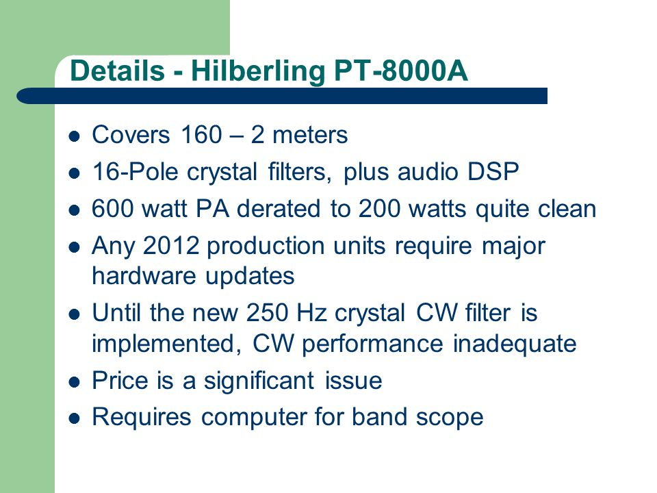 Icom IC-7410 Class AB, White Noise 5 kHz from edge 60 dB down @ 5 kHz Noise source = GR 1381, 5-kHz -3 dB BW