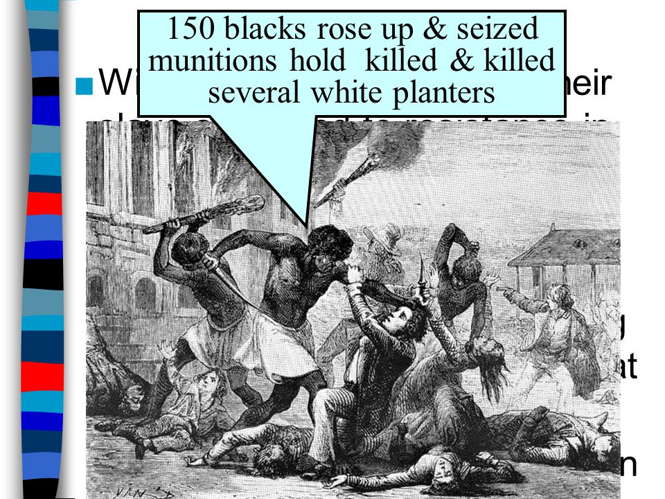 The Slave Population Widespread resentment of their slave status led to resistance in the 18 th Century: Stono Rebellion –Armed resistance such as the