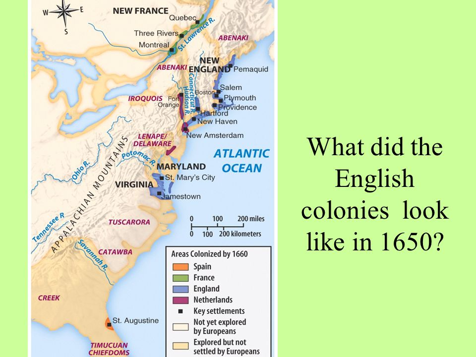 What did the English colonies look like in 1650?