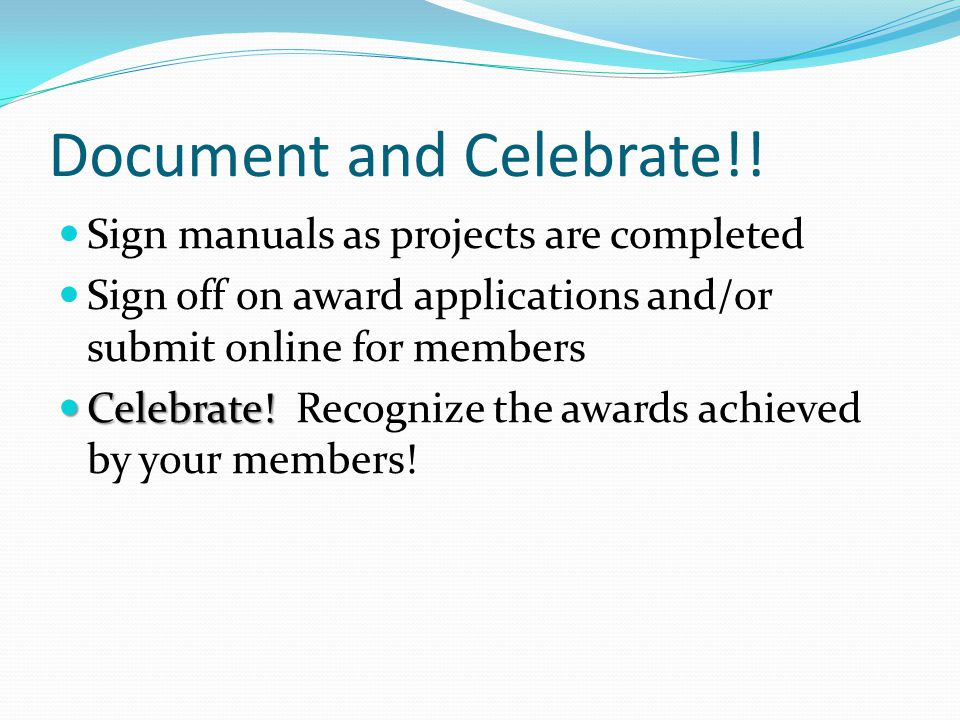 Document and Celebrate!.