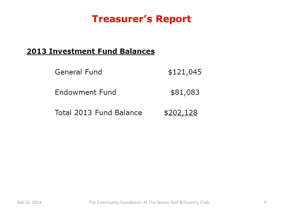 Treasurers Report 4 The Community Foundation At The Venice Golf & Country ClubFeb 26, 2014 2013 Investment Fund Balances General Fund$121,045 Endowment Fund $81,083 Total 2013 Fund Balance $202,128