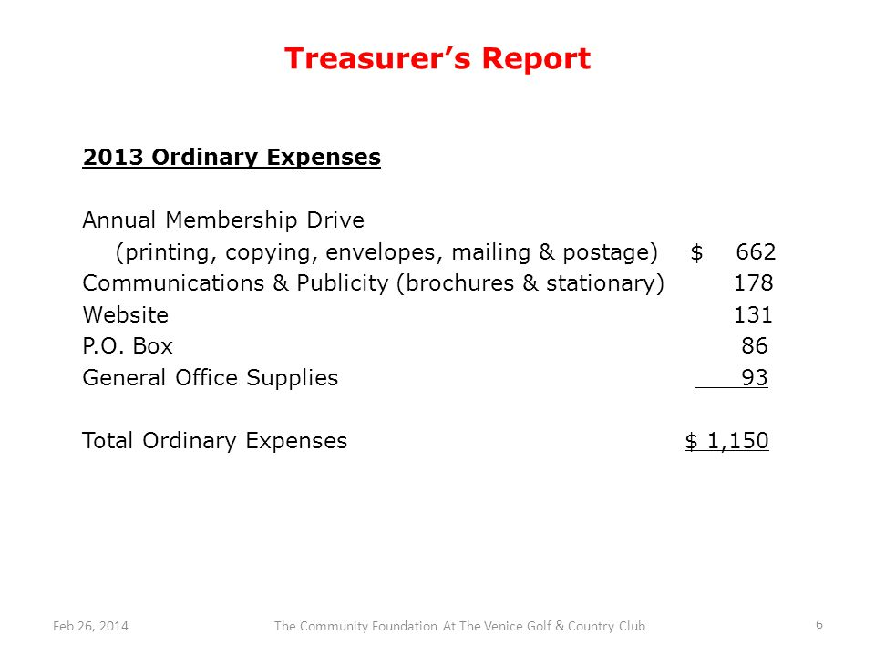 Treasurers Report 2013 Ordinary Expenses Annual Membership Drive (printing, copying, envelopes, mailing & postage) $ 662 Communications & Publicity (brochures & stationary) 178 Website 131 P.O.
