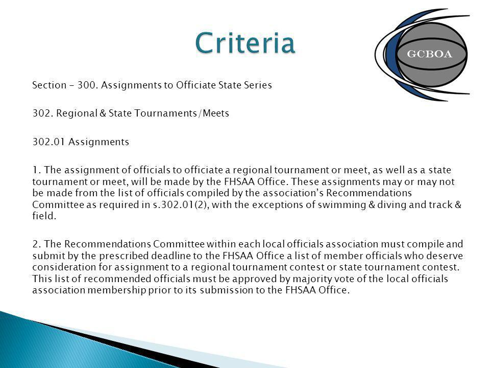 Section - 300.Assignments to Officiate State Series 302.