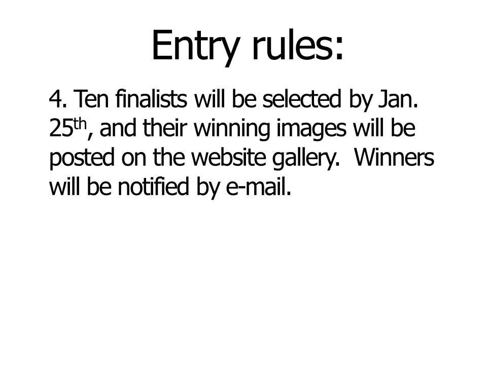 Entry rules: 4. Ten finalists will be selected by Jan.