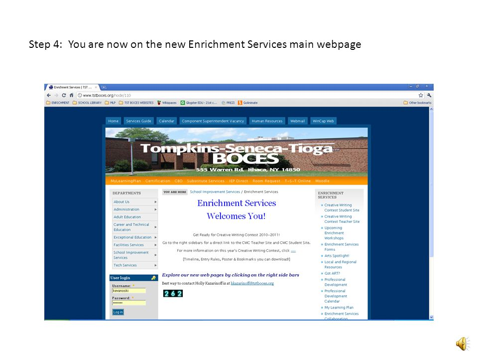 Step 3: Move curser to Enrichment Services sidebar and click