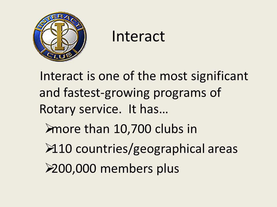 Interact is a service club for high school and/or middle school students ages 12-18.