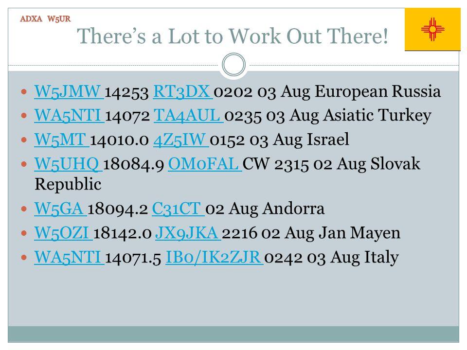 Theres a Lot to Work Out There! W5JMW 14253 RT3DX 0202 03 Aug European Russia W5JMW RT3DX WA5NTI 14072 TA4AUL 0235 03 Aug Asiatic Turkey WA5NTI TA4AUL