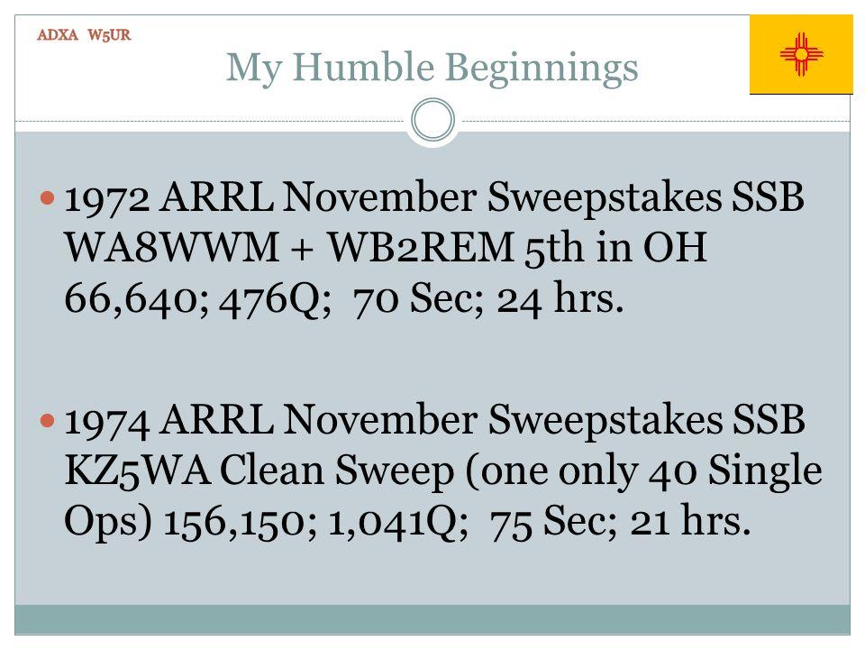 My Humble Beginnings 1972 ARRL November Sweepstakes SSB WA8WWM + WB2REM 5th in OH 66,640; 476Q; 70 Sec; 24 hrs. 1974 ARRL November Sweepstakes SSB KZ5